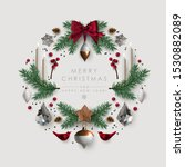 christmas wreath made of pine...   Shutterstock .eps vector #1530882089