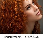red hair. beautiful woman with... | Shutterstock . vector #153090068