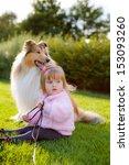 beautiful little girl holding... | Shutterstock . vector #153093260