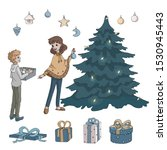 mother and son decorate the... | Shutterstock .eps vector #1530945443