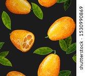 exotic fruit kumquat with green ... | Shutterstock .eps vector #1530990869