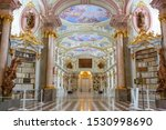 Small photo of ADMONT, AUSTRIA - OCTOBER07, 2019: Admont Abbey Library, part of Benedictine monastery in Styria. The library of Admont Abbey is one of the largest all-embracing creations of the late European Baroque