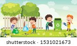 little children cleaning and... | Shutterstock .eps vector #1531021673