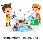little children cleaning and... | Shutterstock .eps vector #1531021733