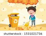 a little kid sweeping the floor | Shutterstock .eps vector #1531021736