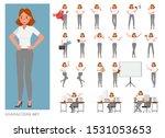set of business woman character ... | Shutterstock .eps vector #1531053653