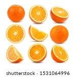 Set Of Orange Fruit Isolated On ...