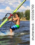 side  view of young windsurfer... | Shutterstock . vector #153106700