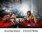 girl is driving go kart with... | Shutterstock . vector #153107846