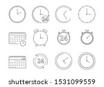icon set of time and clock line ...