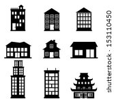 Buildings Icons Over White...