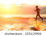 young woman jogging on the... | Shutterstock . vector #153115904