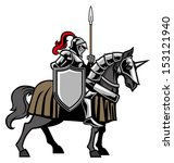 knight with armored horse | Shutterstock .eps vector #153121940