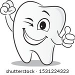 Tooth Cartoon Showing Thump Up...