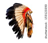 native american indian chief... | Shutterstock . vector #153123350