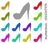 heels multi color icon. simple...
