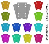 playing cards multi color icon. ...