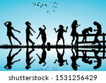silhouette of children playing... | Shutterstock . vector #1531256429