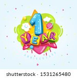 1 year happy anniversary symbol.... | Shutterstock .eps vector #1531265480
