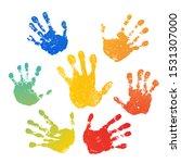 Hand Rainbow Print Isolated On...
