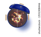 round blue open barbecue grill... | Shutterstock .eps vector #1531308446