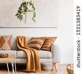 Modern Boho Interior Of Living...