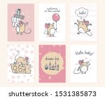 set of cute baby shower cards...   Shutterstock .eps vector #1531385873