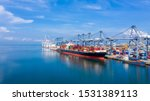 Container Ship At Industrial...