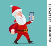 santa claus holding phone with...   Shutterstock .eps vector #1531393643