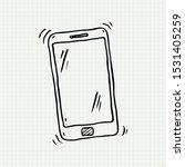 doodle of smart phone on paper...   Shutterstock .eps vector #1531405259