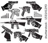 vector illustration of handgun  ... | Shutterstock .eps vector #153141293