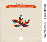 Thanksgiving holiday greeting card with maple leaf. Vector illustration