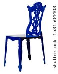 Small photo of Blue Modern Chair askew Isolated on white background With Clipping Path.