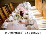 luxury banquet table setting at ... | Shutterstock . vector #153155294