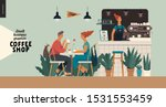 coffee shop interior small... | Shutterstock .eps vector #1531553459