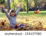 beautiful happy little girl in... | Shutterstock . vector #153157580
