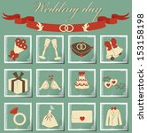 set of wedding icons | Shutterstock . vector #153158198
