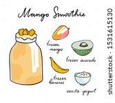 mango smoothie cute hand drawn... | Shutterstock .eps vector #1531615130