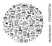 coffee doodles round shape... | Shutterstock .eps vector #1531623716