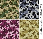 set of 4 camouflage seamless... | Shutterstock .eps vector #153162719
