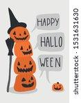 halloween greeting card. cute... | Shutterstock .eps vector #1531631630