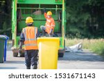 Small photo of Professional staff do environmental transportation, preliminary management, recycling waste.