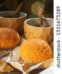 Small photo of Homemade profiteroles cake choux cream puff