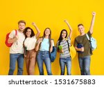 Group Of Happy Students On...