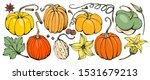 hand drawing pumpkin set.... | Shutterstock .eps vector #1531679213