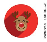 Rudolph Reindeer Icon In A Red...