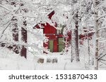 Beautiful Red Wooden House In...