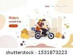 riders couple trip on motorbike ... | Shutterstock .eps vector #1531873223