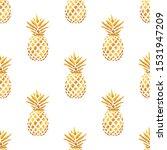 seamless summer gold pineapple... | Shutterstock .eps vector #1531947209