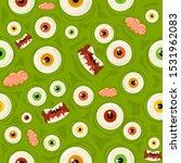 green seamless halloween...   Shutterstock . vector #1531962083
